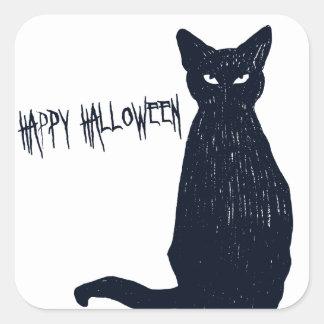Autocollant de carré de silhouette de chat noir de