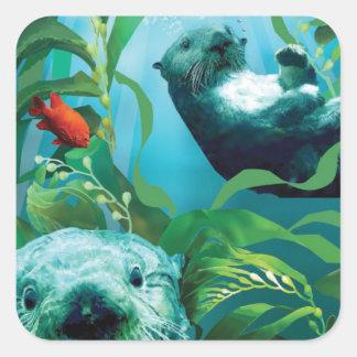 Autocollant de carré du jardin de loutre de mer