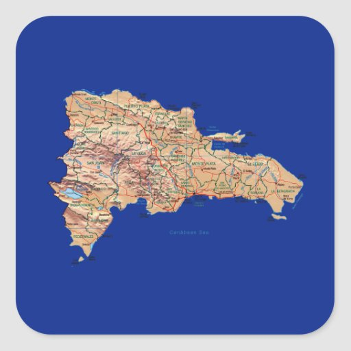 Autocollant de carte de la République Dominicaine