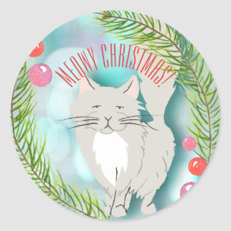 Autocollant de carte de vacances de chat de chaton