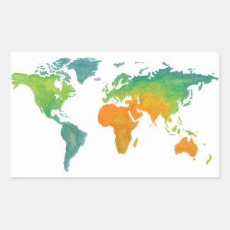 Autocollant de carte du monde d'aquarelle