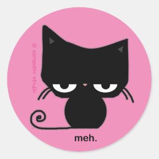 Autocollant de chat de Meh sur le rose