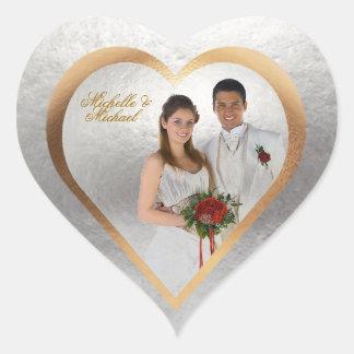 Autocollant de coeur d'argent d'or de mariage de