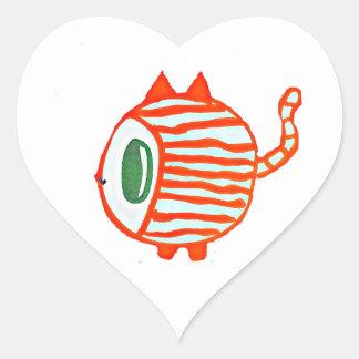 Autocollant de coeur de chat tigré