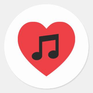 Autocollant de coeur de note de musique