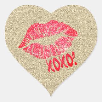 Autocollant de coeur du baiser XOXO de lèvres de