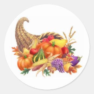 Autocollant de corne d'abondance de thanksgiving