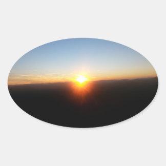 Autocollant de coucher du soleil de montagne