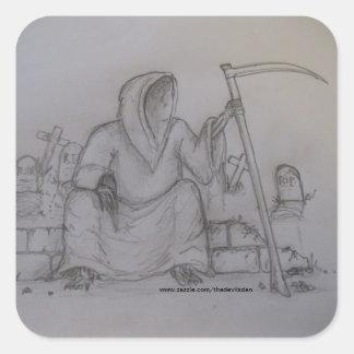 Autocollant de dessin au crayon de faucheuse