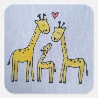 Autocollant de famille de girafe
