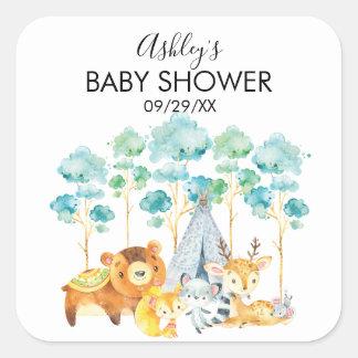 Autocollant de faveur de baby shower d'animaux de