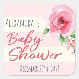Autocollant de faveur de baby shower floral