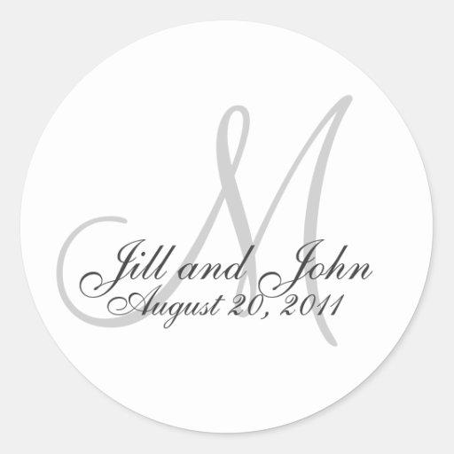 Autocollant de faveur de mariage de monogramme