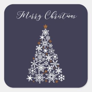 Autocollant de fête d'arbre de Noël de flocon de