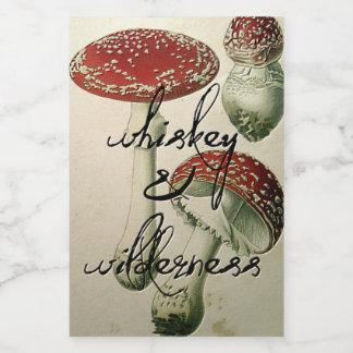 Autocollant de flacon de whiskey et de champignon