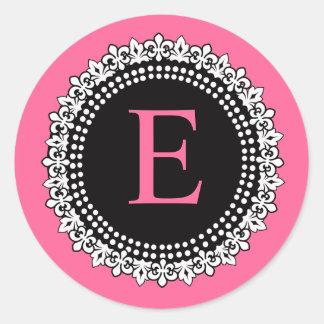 Autocollant d'E Fleur de Lis Wedding de monogramme