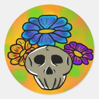 Autocollant de fleurs et de crânes