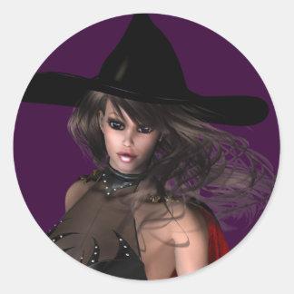 Autocollant de Halloween de femme de KRW Witchy