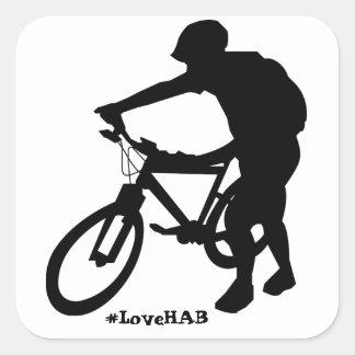 autocollant de Hausse-un-vélo (carré)