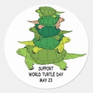 Autocollant de jour de tortue du monde de soutien