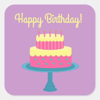 Autocollant de joyeux anniversaire avec le gâteau