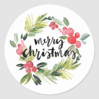 Autocollant de Joyeux Noël de guirlande de houx
