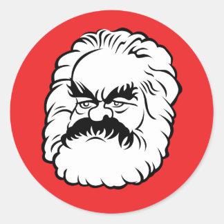 Autocollant de Karl Marx de bande dessinée (rouge)