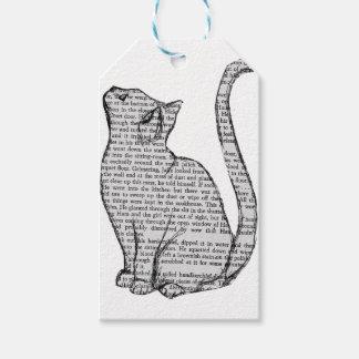 autocollant de livre de lecture de chat étiquettes-cadeau