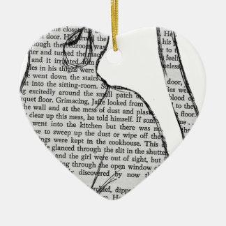 autocollant de livre de lecture de chat ornement cœur en céramique