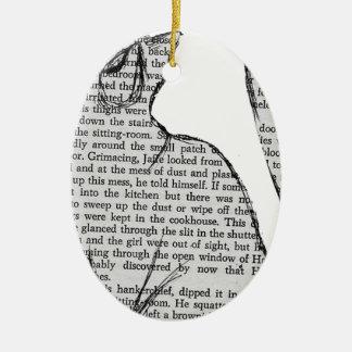 autocollant de livre de lecture de chat ornement ovale en céramique