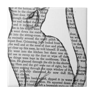 autocollant de livre de lecture de chat petit carreau carré