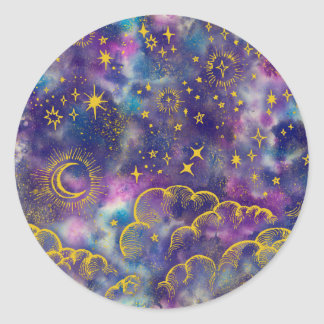 """Autocollant de """"lune et d'étoiles"""" (Or-Etc.)"""