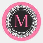 Autocollant de M Fleur de Lis Wedding de monogramm