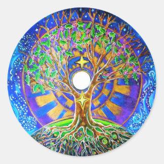 Autocollant de mandala de pleine lune de solstice