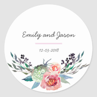 Autocollant de mariage de bouquet floral de Merci