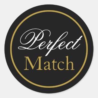 """Autocollant de mariage """"de match parfait"""" - or"""