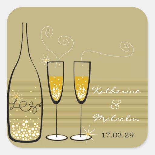 autocollant de mariage d'or de bulles de Champagne