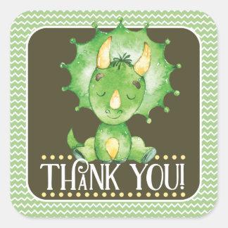 Autocollant de Merci de dinosaure vert