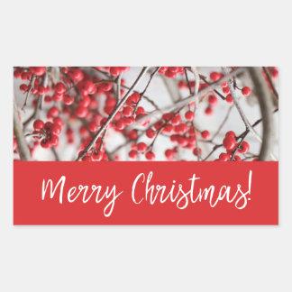 Autocollant de Noël de baies de houx