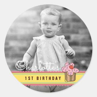 Autocollant de photo d'anniversaire de petit