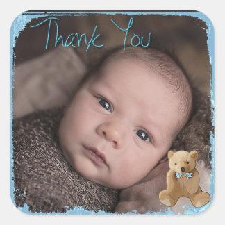 Autocollant de photo de bébé de Merci
