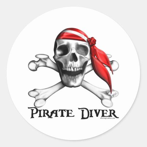 Autocollant de plongeur de pirate