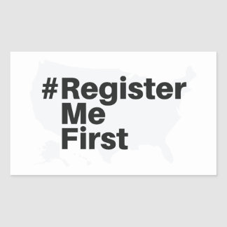 Autocollant de #registermefirst (rectangle)