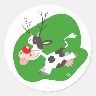 Autocollant de renne de Noël Sticker Rond
