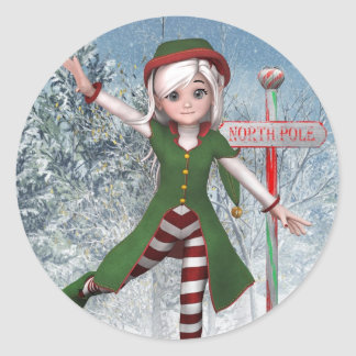 Autocollant de Sadie Elf de Joyeux Noël