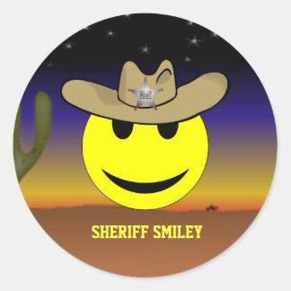 Autocollant de smiley de shérif
