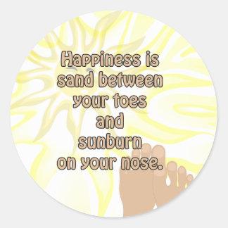 Autocollant de soleil de sable de plage de bonheur
