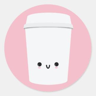 Autocollant de sourire mignon de café