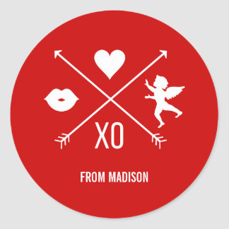 Autocollant de symboles de Valentine de