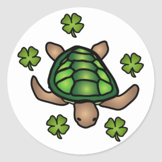 Autocollant de trèfle et de tortue